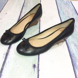 Tory Burch Black Leather Wedges Shoes 8